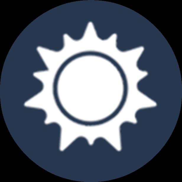 Sonne Icon - Sammlung blauer Hintergrund rund